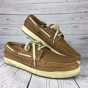 Men's Margaritaville Tan Lace Up Leather Loafer